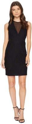 Nicole Miller Petal Lace Mesh V-Neck Dress Women's Dress