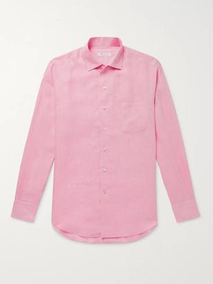 Loro Piana Andre Slub Linen Shirt - Men - Pink
