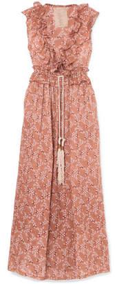 Yvonne S - Marie Antoinette Ruffled Floral-print Linen Maxi Dress - Antique rose