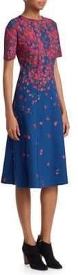 Carolina Herrera Floral Neoprene A-Line Dress