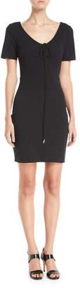 Alexander Wang Tie-Front Short-Sleeve Mini Dress