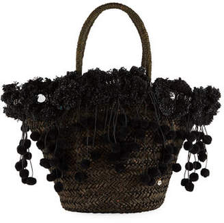 Flora Bella Kailua Straw Beach Tote Bag with Fringe & Pompom Trim