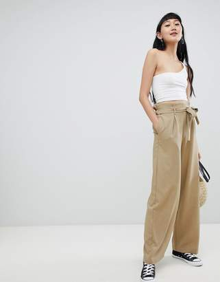 Pull&Bear wide leg palazzo pants in brown
