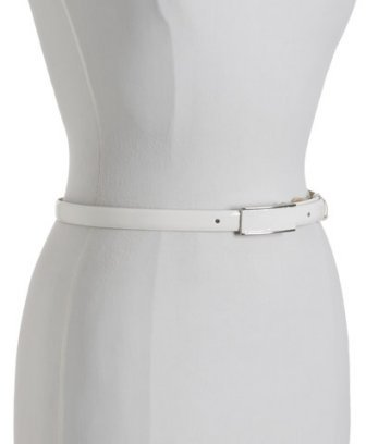 Fashion Focus white patent leather skinny belt