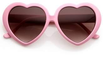 Zerouv Women's Oversize Gradient Lens Heart Sunglasses 55mm (Red/Lavender)