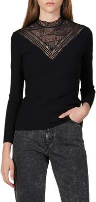 Sandro Hans Lace Yoke Top