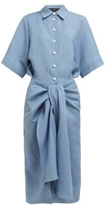 Joseph Coopers Tie Waist Linen Blend Dress - Womens - Blue