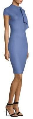 St. John Twill-Knit Tie-Neck Dress