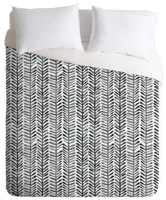 Deny Designs Black & White Dash and Ash Herring Duvet Cover
