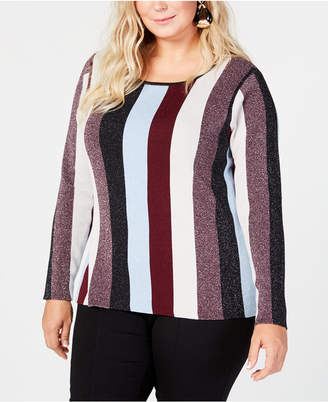 INC International Concepts I.n.c. Plus Size Striped Sweater