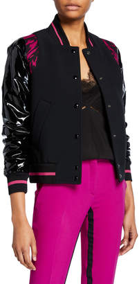 No.21 No. 21 Sporty Contrast-Sleeve Bomber Jacket