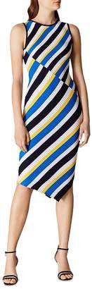 Karen Millen Asymmetric Striped Rib-Knit Dress