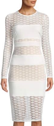 Ali & Jay Lace-Striped Long-Sleeve Illusion Sheath Dress