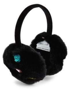 Glamour Puss Glamourpuss Multicolor Jewel-Trim Rabbit Fur Ear Muffs