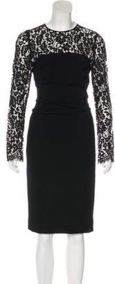 Dolce & Gabbana Lace-Paneled Wool-Blend Dress