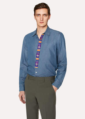Paul Smith Men's Slim-Fit Blue Cotton Chambray Shirt With Embroidered Placket