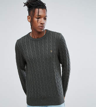 Farah Ludwig Cable Knit Sweater in Green Marl
