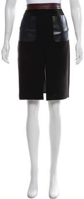 L'Agence Leather-Trimmed Knee-Length Skirt