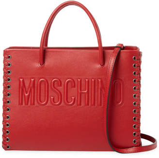 Moschino Whipstitch Leather Satchel