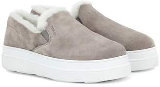 Prada Fur-lined suede sneakers