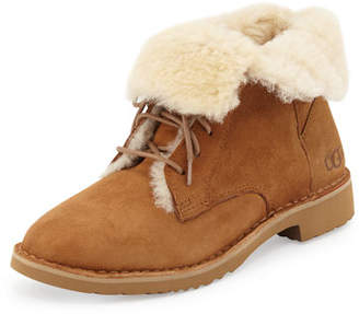UGG Quincy Shearling Fur Combat Boot $170 thestylecure.com