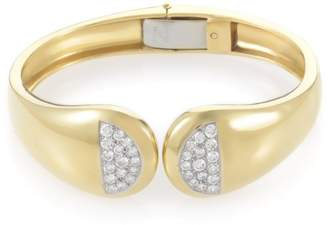 18K Yellow Gold and Platinum with Diamond Cellino Bangle Bracelet