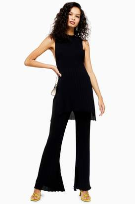 Topshop Womens Knitted Ribbed Trousers - Black