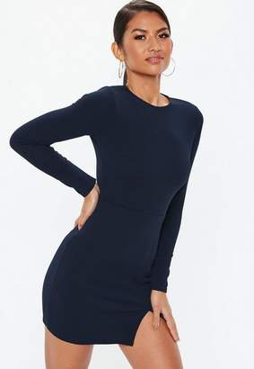 Missguided Navy Crepe Long Sleeve Bodycon Dress