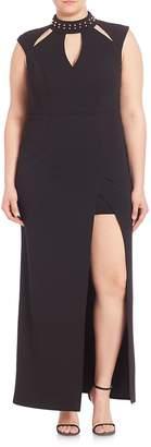 ABS by Allen Schwartz ABS, Plus Size Women's Plus Embellished Cutout Gown - Black, Size 3x (22-24)