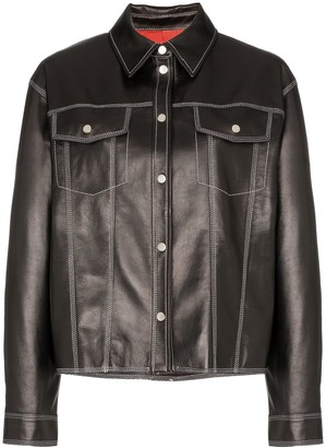Sjyp contrast stitch western leather jacket