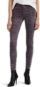 J Brand Women's Maria Python-Print Velvet High-Rise Skinny Jeans