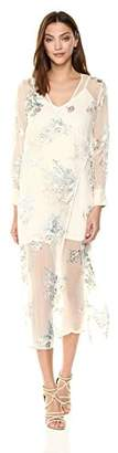 ASTR the Label Women's Riley Long Sleeve Sheer Illusion Wrap Maxi Duster Dress