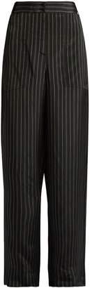 Tibi Striped wide-leg satin trousers