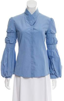 Valentino Long Sleeve Button-Up Blouse