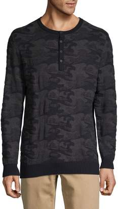 DKNY Camouflage Cotton Henley