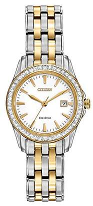 Citizen Watch Silhouette Crystal Women's Quartz Watch with White Dial Analogue Display and Two Tone Stainless Steel Gold Plated Bracelet EW1908-59A