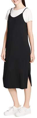 Calvin Klein Layered-Look Midi Slip Dress