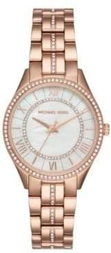 Michael Kors Analog Lauryn Rose-Goldtone & Crystal Stainless Steel Bracelet Watch