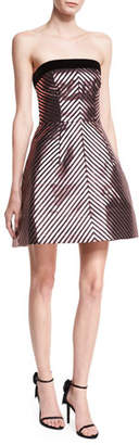 Monique Lhuillier Lurex® Chevron Jacquard Strapless Cocktail Minidress
