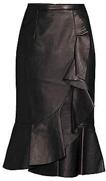 Michael Kors Women's Rumba Leather Ruffle Pencil Skirt