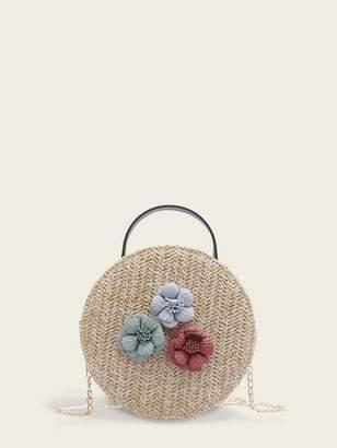 Shein Floral Applique Woven Chain Satchel Bag