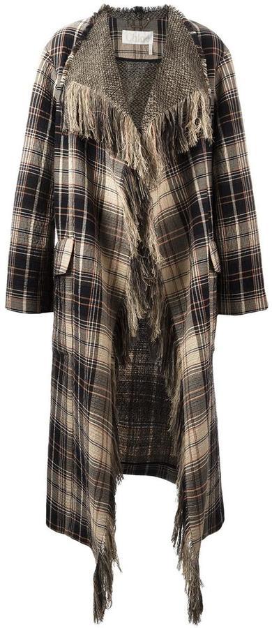 Chloé Chloé fringed plaid blanket coat
