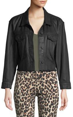 Paige Tori Button-Front Coated Denim Jacket