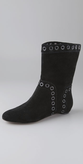 Modern Vintage Shoes Debbie Suede Flat Booties with Grommets