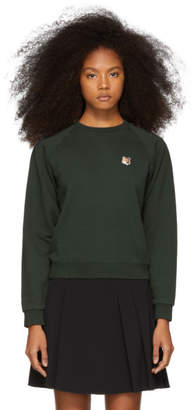 MAISON KITSUNÉ Green Fox Head Patch Sweatshirt