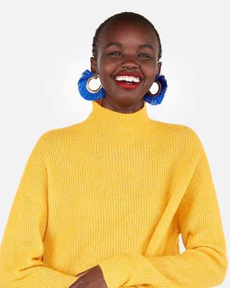 Express Petite Mock Neck Oversized Tunic Sweater
