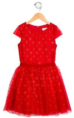 David Charles Girls' Embroidered A-Line Dress