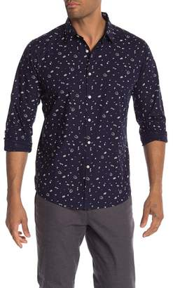 Knowledge Cotton Apparel Button Front Printed Shirt