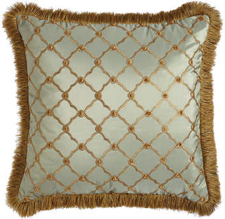 "Dian Austin Couture Home Tuscan Trellis Square Pillow with Brush Fringe, 20""Sq."