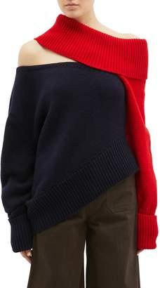 Monse Cutout colourblock off-shoulder wool sweater